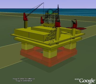 Thunderhorse oil platform in Google Earth