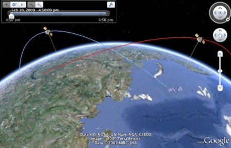 Space satellite crash in 3D in Google Earth