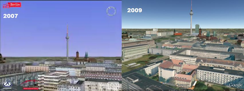 Comparación modelos 3D de Berlin 2007 2009 en Google Earth