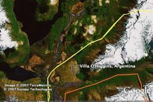 Chile border in Google Earth
