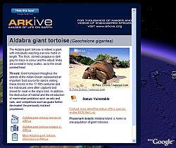 ARKive endangered species in Google Earth