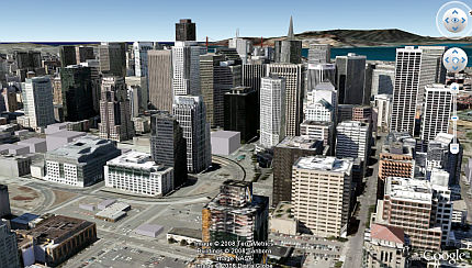 Google Earth 4.3 screenshot of San Francisco 3D Buildings