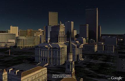 Sunrise on Denver in Google Earth 4.3