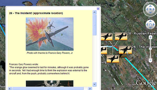 Francis Gary Powers U-2 Incident in Google Earth