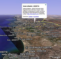 Israel-Lebanon Conflict Illustrated in Google Earth