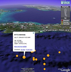 Tsunami hits West Java, Indonesia in Google Earth
