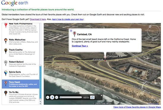 Favorite Places in Google Earth
