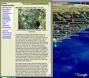 Jane Goodall Gombe Chimpanzee Blog/Geoblog in Google Earth