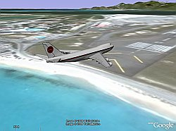 Maho Beach 747 on final in Google Earth