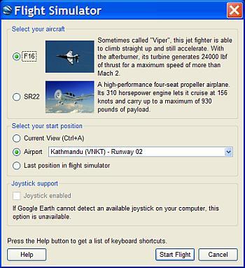 Flight Sim Requester Window in Google Earth