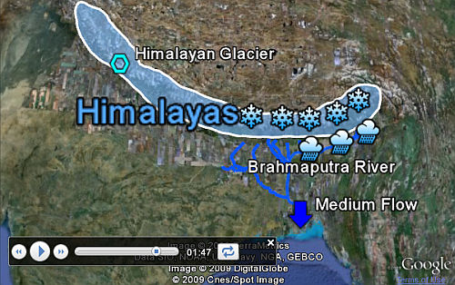 Brahmaputra River lesson in Google Earth