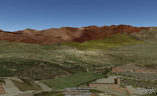 Station Fire in 3D in Google Earth