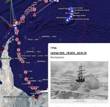 Sir Ernest Shackleton documentary in Google Earth screenshot