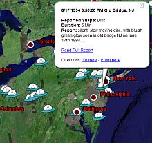 UFO sightings locations in Google Earth screenshot