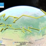 The path of the Olympic torch in Google Earth