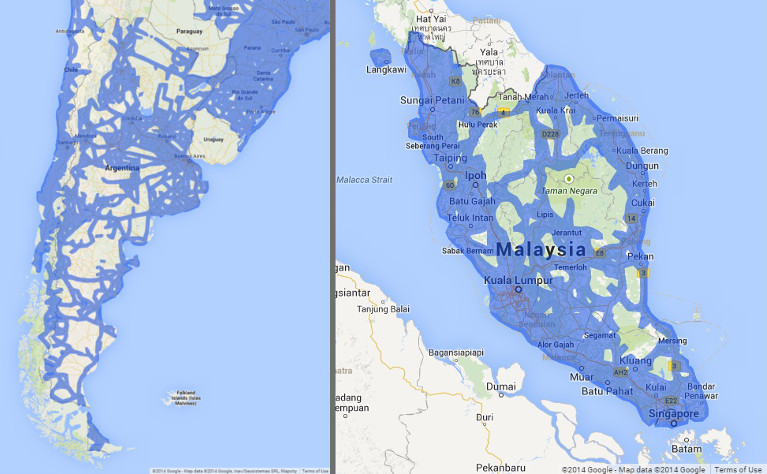 Street View Argentina and Malaysia
