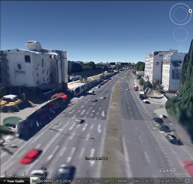Part of the Berlin Wall in Google Earth