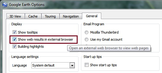 External browser setting