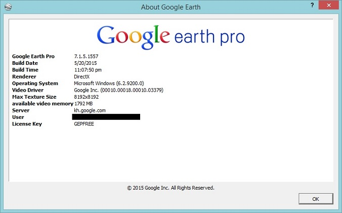 username and licence key for google earth pro