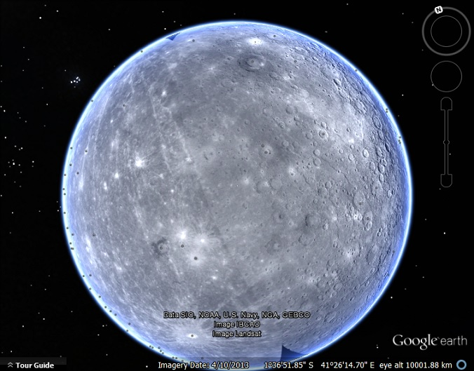 The Planet Mercury in Google Earth - Google Earth Blog