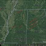 Tornado tracks in Google Earth imagery
