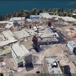 Two stages of construction in Google Earth 3D imagery