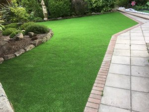garden with grass, borders and path
