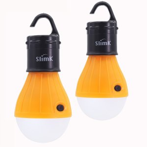 2 Pack LED Lantern for Camping Lights,SlimK Night Lamp Emergency Tent Bulb,Portable,Battery Powered