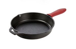 Lodge Cast Iron Skillet with Red Silicone Hot Handle Holder, 10.25-inch
