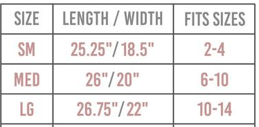 GP- ladys fit tee size chart