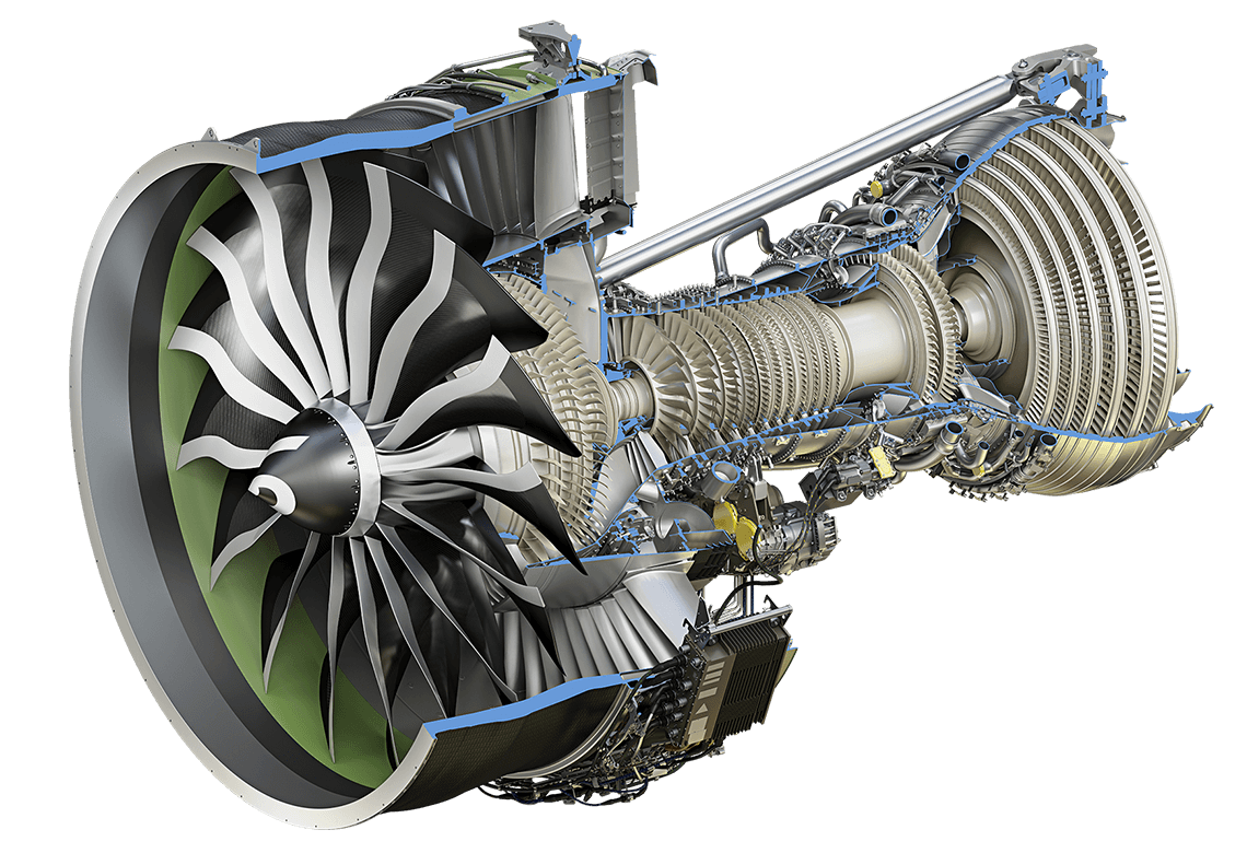 hight resolution of ge9x engine cutaway