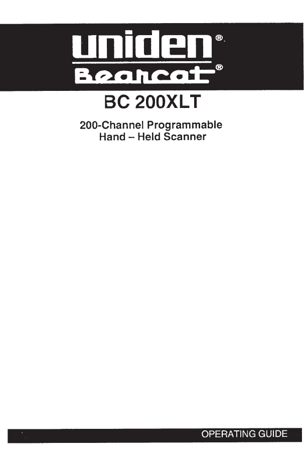 Handleiding Uniden UBC200XLT (pagina 1 van 27) (English)