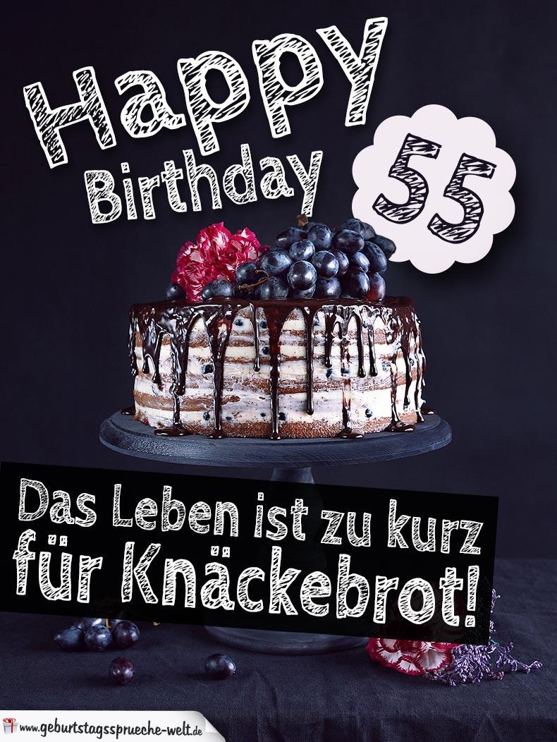 Geburtstagstorte 55 Geburtstag Happy Birthday  GeburtstagssprcheWelt