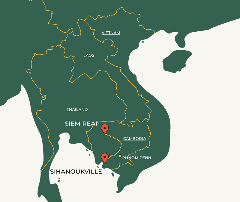 Siem Reap to Sihanoukville travel route on map