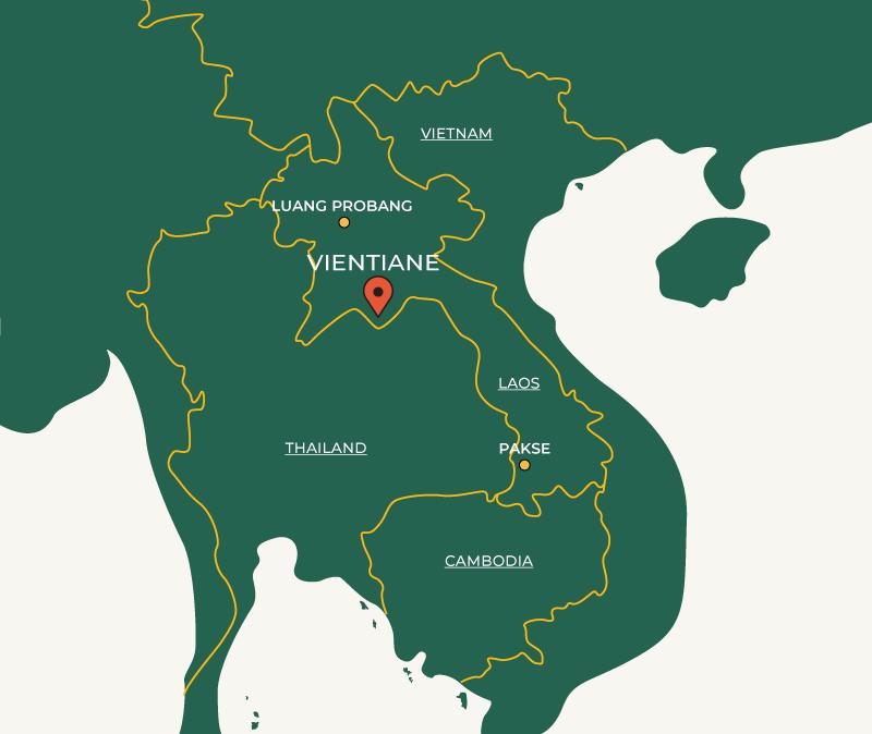 Vientiane on map