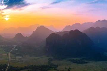 Sunset over Vang Vieng
