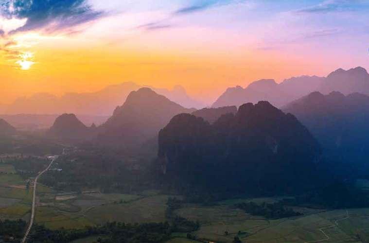 Sunset over Vang Vieng