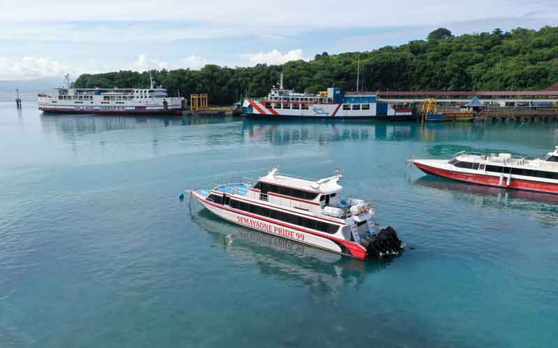 Small ferry from Bali to Gili Islands