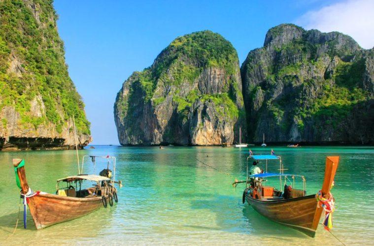 Thailand Koh Phi Phi boat on beach