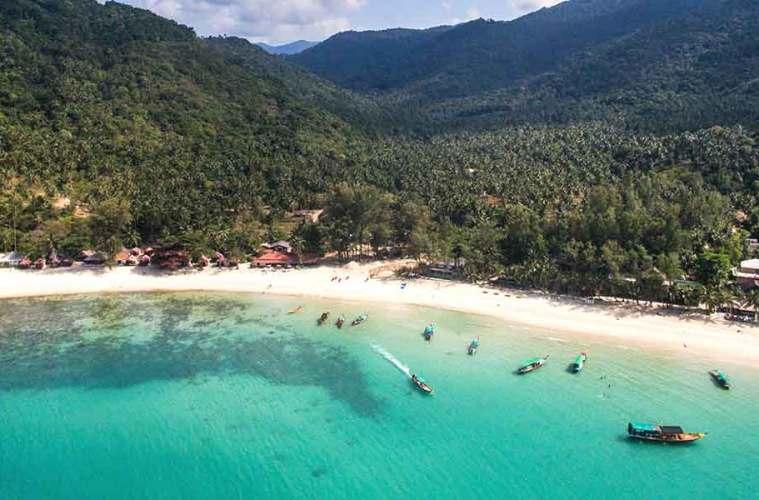 Koh Phangan beach drone view