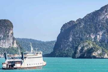 Surat Thani Boat leaving ferry port