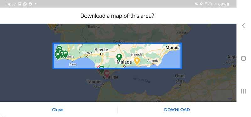 Offline google maps for rental car navigation