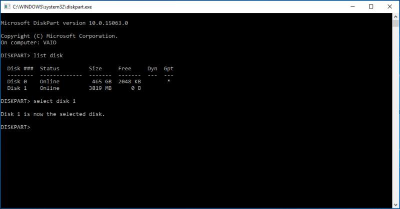 select disk 1