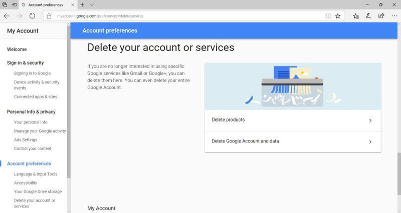 Delete Google Account and Data