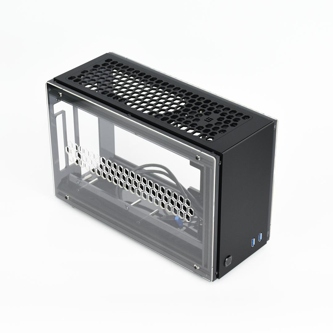 vitres claires GEEEK A50 MINI-ITX CASE ch/âssis noir mat