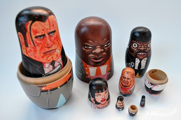 Pulp Fiction Nesting Dolls.  Hand Painted by Andy Stattmiller.