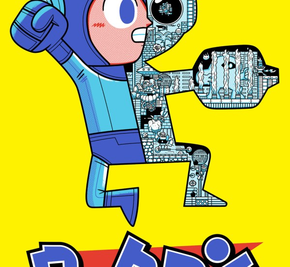 Officially licensed Megaman screen print by Andrew Kolb on the Geek-Art Store