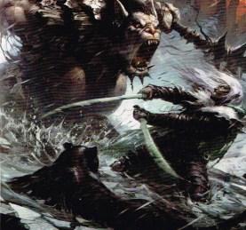 Drizzt en pleine action accompagné de sa panthère