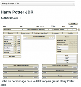 Feuille personnage Roll20 - Harry Potter JdR
