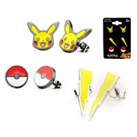 Pokemon Pikachu Lightning Bolt and Poke Ball Stud Earrings